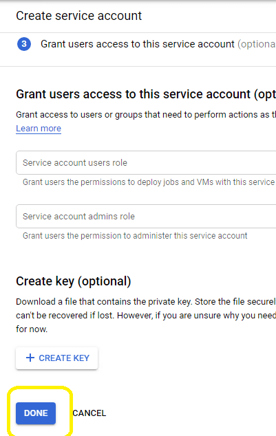 create service account in google developers console step 3