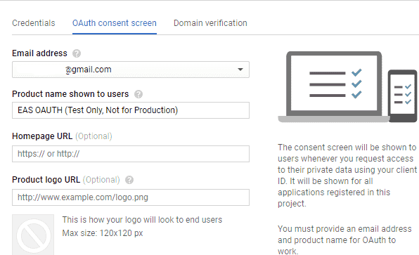 edit Gmail oauth consent