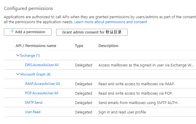 azure application api permission