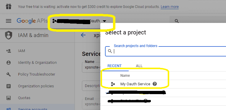 select project in google developers console
