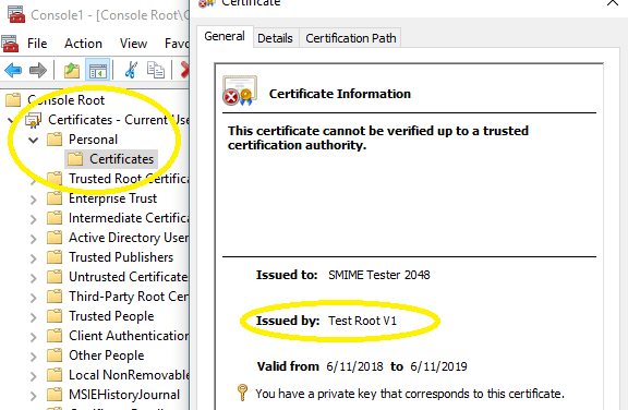Test root certificate