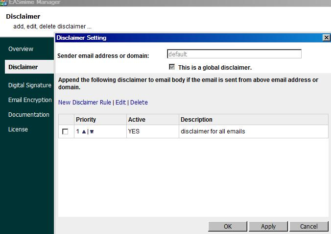 Click to view EA Disclaimer, S/MIME for Exchange Server and IIS SMTP Service screenshots